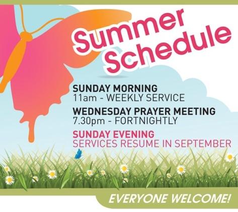 ....Summer Schedule