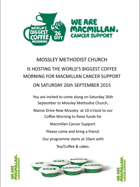 Take part in the worlds biggest coffee morning at Mossley Methodist Church